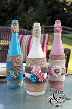 Diy wine bottles. One of my sorority sisters posted this and they too cute
