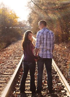 e photography and design | Photography  engagement, train tracks, couple, love, lens flare, railroad tracks, session, photography, fall, autumn