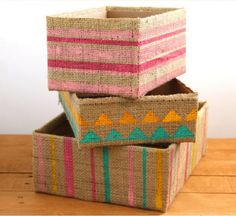 If your craft room (or your whole house) is starting to feel cluttered, it's time to reorganize with these DIY storage bins. These chic Burlap DIY Storage Boxes are nice to look at and will keep things tidy in your craft room or kitchen. Diy Storage Boxes, Craft Room Storage, Storage Ideas, Storage Solutions, Diy Organizer, Diy Organization, Organizing Tips, Fabric Boxes, Fabric Basket