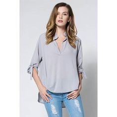Concise Solid Color V-Neck 3/4 Sleeve Chiffon Blouse For Women - Gray