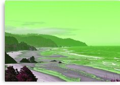 An artistic photo of a long sandy beach with green see and a touch of violet. • Millions of unique designs by independent artists. Find your thing. Green And Purple, Nature Photos, Photo Art, Ocean, Canvas Prints, Artists, Touch, Explore, Wall Art