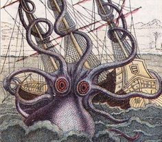 Giant octopus ensnaring ship in tentacles; color engraving. Description from vintageprintable.com. I searched for this on bing.com/images