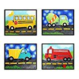 4 Transportation Prints 8x10 art prints of a dump truck fire engine cement mixer and school bus for kids room or nursery. Frames not included.
