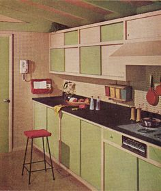 Sherwin-Williams Home Decorator Booklet 1961 Edition Cute vintage kitchen! 1960s Interior, Mid-century Interior, Kitchen Interior, Interior Design, Interior Decorating, House Design Photos, Cool House Designs, Modern House Design, Home Design