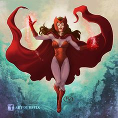 """Don't hesitate to support my FB please : """"Art of Effix"""" Marvel Avengers Scarlet Witch Female Comic Characters, Marvel Comic Character, Marvel Movies, Marvel Fan Art, Marvel Avengers, Comic Books Art, Comic Art, Book Art, Marvel Heroines"""