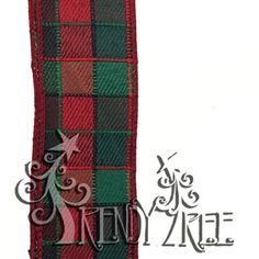 """Plaid Check Linen Ribbon Size: 1.5"""" width; 10 yards length Color: Red, Emerald Material: Synthetic Wire edge"""