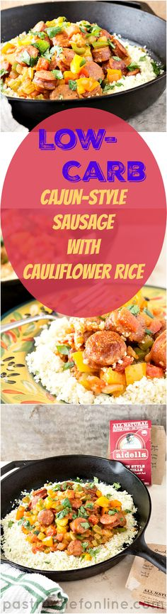 "This low-carb Cajun Style Sausage Recipe features Aidells' Andouille Sausage, creamy pureed cauliflower in the ""stew"" and roasted cauliflower rice as the base. This recipe is not only low-carb, it's also paleo-friendly and ready in about half an hour. Bring sausage back to the dinner table. Start with Aidells and this delicious, healthy recipe! #sponsored 