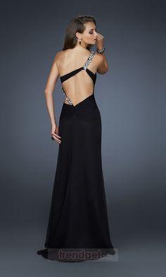 Attractive Sheath / Column One Shoulder Floor-length Chiffon Split Front Black Evening Dresses