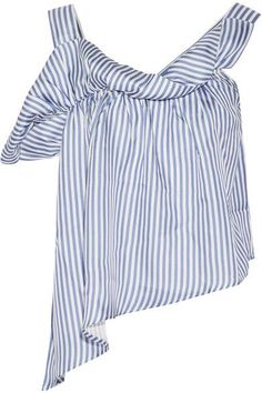 Paper London | Flute asymmetric striped silk-twill top | NET-A-PORTER.COM