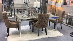The Champagne Tufted Dining Chair is a gorgeous so Luxury Dining Tables, Modern Dining Room Tables, Elegant Dining Room, Luxury Dining Room, Beautiful Dining Rooms, Dining Room Table Decor, Dining Table Design, Dining Room Furniture, Mirror Dining Table