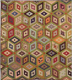 Mosaic Diamonds Quilt, 1861. Southampton Co, Virginia. Classic Quilts from the American Museum in Britain.
