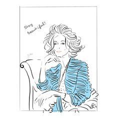 Fashion Illustration ältere Frau. Fashion Postkarte . Mode Illustration. Sitzende Frau gezeichnet.