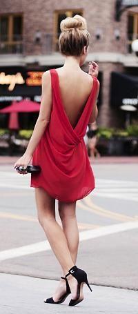 Ravishing little red backless dress