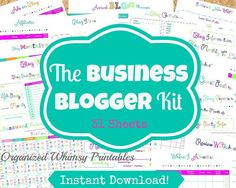Get your blog organized!  This kit is for all you bloggers out there who earn an income with their blog- 31 PDF Printables! INSTANT DOWNLOAD Blog Planner Blog Management by Organized Whimsy Printables