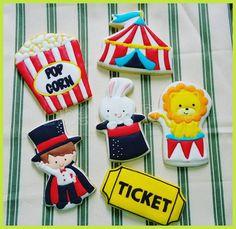 Biscoitos Decorados Circo Sugar Cookies Circus, Decorated cookies circus, galletas Bolachas Galletas Cookies, Iced Cookies, Cute Cookies, Cupcake Cookies, Cookies Et Biscuits, Kids Carnival, Carnival Themes, Carnival Parties, Magic Birthday