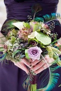 Peacock bouquet, jewel-toned dress