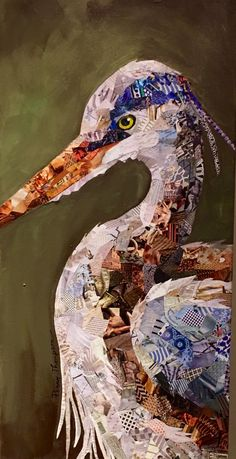 Great Blue Heron paper collage painting by Penny Day Thompson