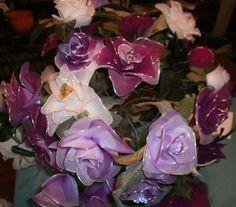 25 purple and white nylon flowers