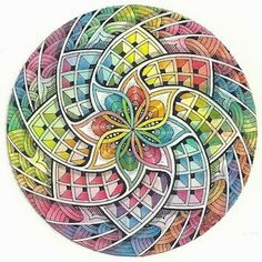 Enthusiastic Artist: Kaleidoscope    #ZentangleDesign    #ColoredZentangle    #art