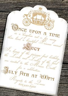 Super cute once upon a time invitations!: http://www.quinceanera.com/decorations-themes/cinderella-theme-quince/?utm_source=pinterest&utm_medium=article&utm_campaign=123114-cinderella-theme-quince