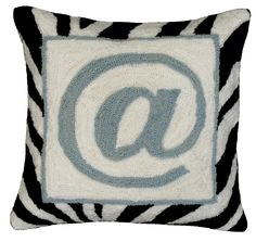 """Graphic """"@"""" Sign Hook Wool Throw Pillow"""