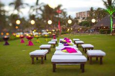 Outdoor sangeet/mehndi decor..love the lime green pillows