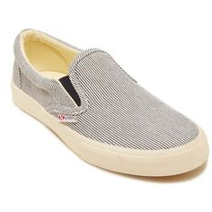 Superga Stripedcotw Slip-On Sneakers ($49) ❤ liked on Polyvore featuring shoes, sneakers, navy, navy sneakers, slipon shoes, navy blue sneakers, striped shoes and navy shoes