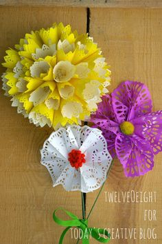 DIY Paper Doily Flowers | How to Make Paper Flowers with doilies. See more creative ideas on TodaysCreativeLife.com