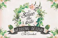 Wedding graphic set with succulents by Graphic Box on Creative Market