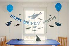 Hai Party Wand und Tisch Deko basteln *** Shark Party DIY wall and table decor