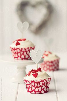 Cute Heart Topped Valentines Love Cupcakes