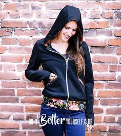 The Babe Hoodie is the Ultimate Women's PDF Hoodie Sewing Pattern! Available in Misses and Plus Sizes and Comes in Limitless Options for you to Customize.