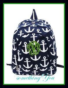 Anchor Print Backpack by atltrends on Etsy Monogram Backpack, Personalized Backpack, Diy Backpack, Backpack For Teens, Rucksack Bag, Cute Backpacks, Girl Backpacks, Back To School Backpacks, Bags