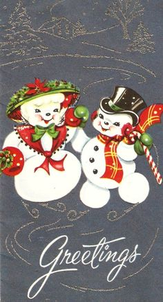 Snowman Vintage Christmas Card by PaperPrizes on Etsy Christmas Card Images, Vintage Christmas Images, Christmas Graphics, Old Christmas, Old Fashioned Christmas, Retro Christmas, Vintage Holiday, Christmas Snowman, Xmas Cards