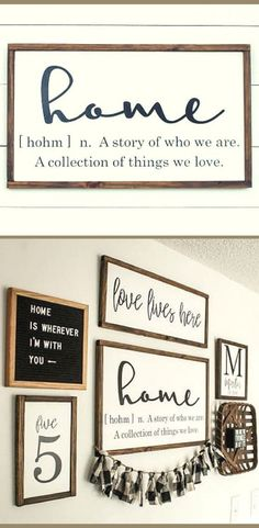 Home Sign - Home Definition Wood Sign - Farmhouse Sign - Wood Sign, Rustic sign, Rustic wall decor, Living room decor, gallery wall sign, Farmhouse decor, housewarming gift idea #ad