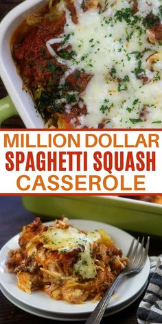 Million Dollar Spaghetti Casserole without all the carbs!! This spaghetti squash casserole is a family favorite!  This delicious recipe is packed with cheesy goodness, loaded with flavor, and keto friendly! 8 net carbs serving. #ketodinner #lowcarbcasserole Veggie Dishes, Vegetable Recipes, Beef Recipes, Vegetarian Recipes, Cooking Recipes, Healthy Recipes, Best Spaghetti Squash Recipes, Spaghetti Squash Casserole, Spaghetti