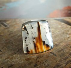 Montana Moss Agate Hammered Sterling Silver Ring by jamesblanchard