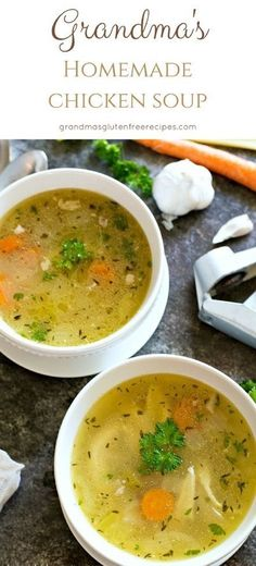 You will love my grandma's homemade chicken soup recipe. Cold busting chicken soup recipe. Gluten free, whole 30, paleo soup recipe. How to make chicken soup from scratch. via @grandmasgfree