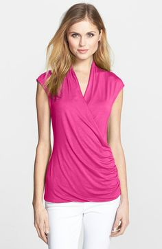 Vince Camuto Cap Sleeve Faux Wrap Top available at #Nordstrom