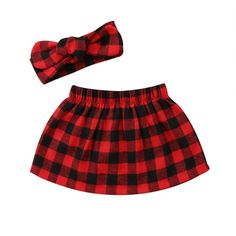Classic Red Plaid Skirt With Matching Headband from kidspetite.com!  Adorable & affordable baby, toddler & kids clothing. Shop from one of the best providers of children apparel at Kids Petite. FREE Worldwide Shipping to over 230+ countries ✈️  www.kidspetite.com  #skirts #newborn #infant #girl #baby
