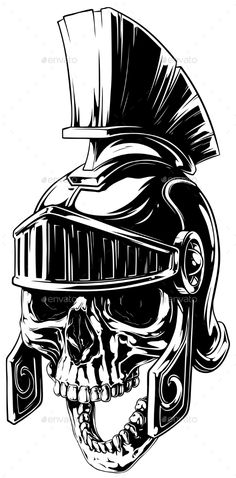 Black and White Human Skull in Roman Helmet - Miscellaneous Vectors