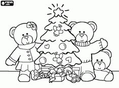 a teddy bear family christmas coloring page