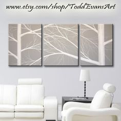 48 inches, 3 piece Wall art set, Large Canvas Grey, gray, Trees, set of 3, black and white art, painting, tree decor original by ToddEvansArt, $200.00