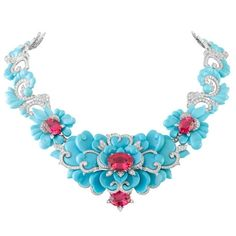 One-of-a-kind Kingfisher necklace in turquoise, diamonds, & pinkish-red spinels