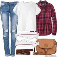 I love converse and flannel shirts!...this could be both girl and boy outfit (besides the purse!)