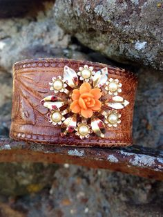 Vintage tooled leather cuff bracelet with vintage brooch on Etsy, $40.00