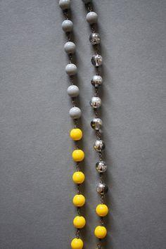 Linked necklace  lemon grey silver by scatteredstars on Etsy, $36.00