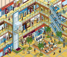 Gulf Air - Gulf Life magazine shopping mall -  isometric pixel art illustration by Rod Hunt