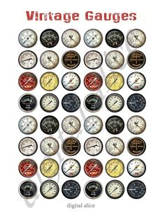 VINTAGE METERS and GAUGES Craft Circles by DigitalAlice on Etsy