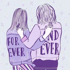 FOREVER AND EVER  _______________________________________ #illustration #illustrate #femaleillustrator #drawing #draw #sketch #design #creative #create #vector #ipadpro #procreate #applepencil #girls #bestfriends #love #friendship #support #girlpower #feminism #artdaily #instaart #leatherjackets #foreverandever #stars #hearts #purple #pink